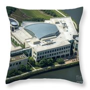 Wrigley Global Innovation Center In Chicago Aerial Photo Throw Pillow