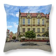 Wroclaw Market Square, New Town Hall And Tenement Houses Throw Pillow