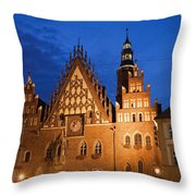 Wroclaw Old Town Hall At Night Throw Pillow