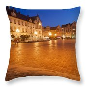 Wroclaw Old Town Market Square At Night Throw Pillow