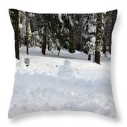 Wrong Way Snowman Throw Pillow