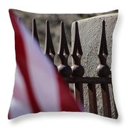 Wrought Iron And American Flag Throw Pillow