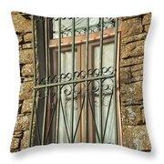 Wrought Iron - Glass - Stone Throw Pillow
