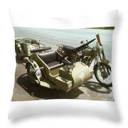 Ww2 German Sidecar And Fuel Trailer Throw Pillow
