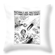 Ww2 Material Conservation Cartoon Throw Pillow by War Is Hell Store