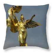 Wwi Gold Winged Victory Statue Throw Pillow