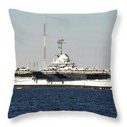 Wwii Aircraft Carrier Uss Yorktown Throw Pillow