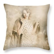 Wwii Tour Of Duty Pin-up Woman Throw Pillow