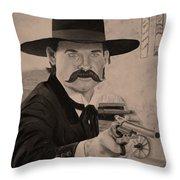 Wyatt Earp - Kurt Russell B And W Throw Pillow
