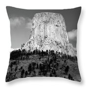 Wyoming Devils Tower National Monument With Climbers Bw Throw Pillow