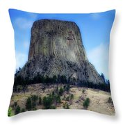 Wyoming Devils Tower With 8 Climbers August 7th 12 36pm 2016 With Inserts Throw Pillow