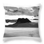 Wyoming Landscape 3 - B-w Throw Pillow