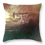 Wyoming Pump Jack Throw Pillow