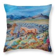 Wyoming Ranch Scene Throw Pillow