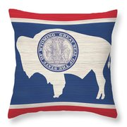 Wyoming Rustic Flag On Wood Throw Pillow