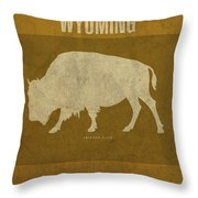 Wyoming State Facts Minimalist Movie Poster Art Throw Pillow