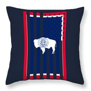 Wyoming State Flag Graphic Usa Styling Throw Pillow