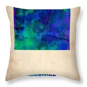 Wyoming Watercolor Map Throw Pillow by Naxart Studio