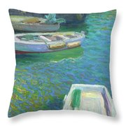 Xabia Harbour With Fishing Boats Throw Pillow