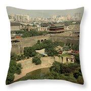 Xi'an City Wall With Skyline Throw Pillow