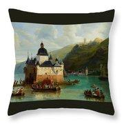 Xixth Century French School Pfalzgrafenstein Castle Throw Pillow