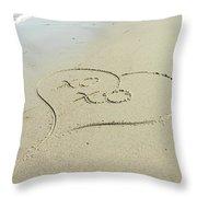 Xoxo - Message Written In The Sand Throw Pillow