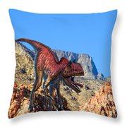 Xuanhanosarus In The Desert Throw Pillow by Frank Wilson