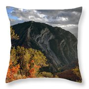 Y Mountain Above Provo Utah At Sunset Throw Pillow