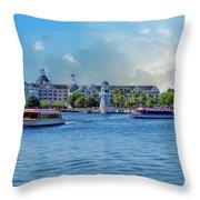 Yacht And Beach Club Walt Disney World Throw Pillow
