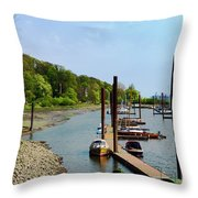 Yacht Harbor On The River. Film Effect Throw Pillow