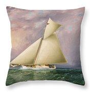 Yacht Race In New York Harbor Throw Pillow