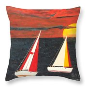 Yacht Racing Throw Pillow