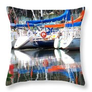 Yachts At Rest Throw Pillow