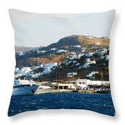 Yachts Docked At Port Skala Greece On Patmos Island Throw Pillow