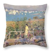 Yachts In Gloucester Harbor Throw Pillow by Childe Hassam