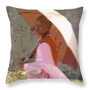 Yangon Buddist Nun Throw Pillow