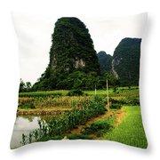 Yangshuo's Limestone Karsts Throw Pillow