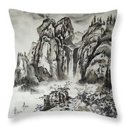 Yangze River With Water Fall Throw Pillow