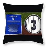 Yankee Legends Number 3 Throw Pillow by David Lee Thompson