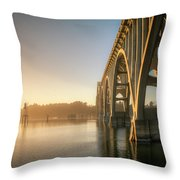 Yaquina Bay Bridge - Golden Light 0634 Throw Pillow