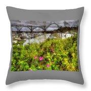 Yaquina Bay Roses Throw Pillow