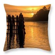 Yaquina Bay Sunset - Vertical Throw Pillow