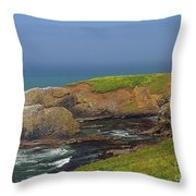 Yaquina Head Lighthouse And Bay Throw Pillow
