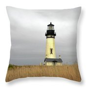 Yaquina Lighthouses - Yaquina Head Lighthouse Western Oregon Throw Pillow by Christine Till