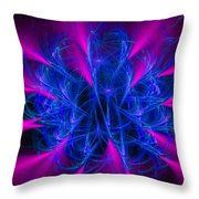 Yarn In Space - Fractal Art Blue And Pink Throw Pillow
