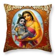 Yashoda And  Krishna 3 Throw Pillow by Lila Shravani
