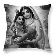 Yashoda And  Krishna Black-white Throw Pillow