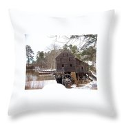 Yates Mill In Winter Throw Pillow