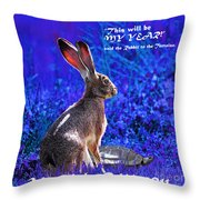 Year Of The Rabbit 2011 . Square Blue Throw Pillow