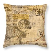 Year Of The Ram Postcard Throw Pillow by Carol Leigh
